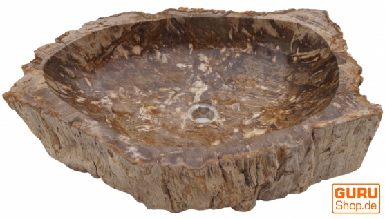 Massives Fossiles Holz Aufsatz-Waschbecken, Waschschale, Naturstein Handwaschbecken - Modell 20