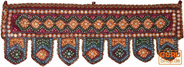 Indischer Wandbehang, Orientalischer Wimpel mit Pailletten, Toran - bordeauxrot