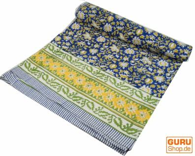 Blockdruck Tagesdecke, Bett & Sofaüberwurf, handgearbeiteter Wandbehang, Wandtuch - blau/grün Blumen Ornament
