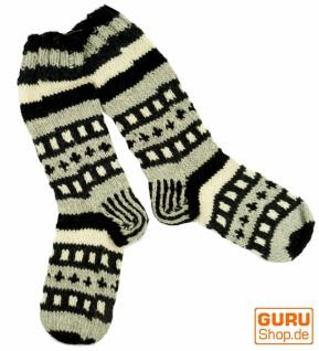 Handgestrickte Schafwollsocken, Nepal Socken 41-44