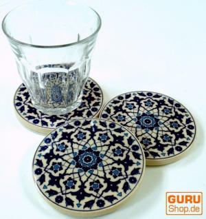 Orientalischer Keramikuntersetzer, runder Untersetzer für Gläser und Tassen mit Mandala Motiv Set - Muster 12