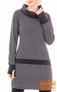 Langärmlige Tunika aus Bio-Baumwolle / Chapati Design - black brick