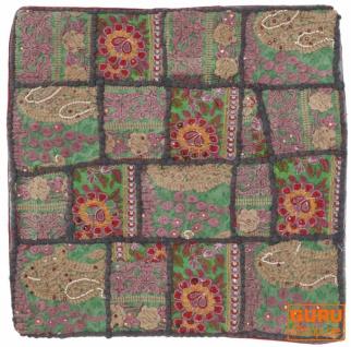 Patchwork Kissenhülle, Dekokissen Bezug aus Rajasthan, Einzelstück - Muster 19
