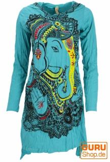 Baba Longshirt, Langarm Psytrance Minikleid - Ganesh / türkis