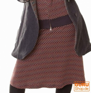 Knielanger Rock aus Bio-Baumwolle / Chapati Design - black polka