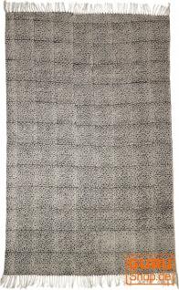 Handgewebter Blockdruck Teppich aus natur Baumwolle mit traditionellem Design - Muster 7