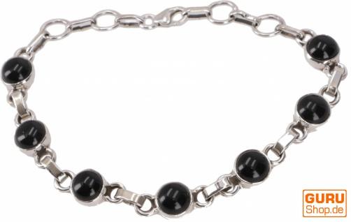 Indisches Boho Silber Armband - Onyx