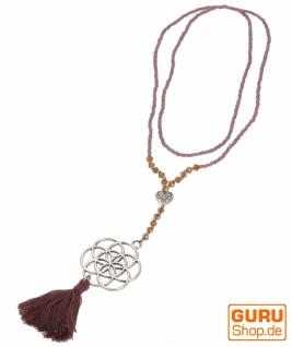 Modeschmuck Kette Blume des Lebens - violett/silber