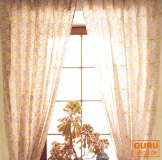 Boho Vorhänge, Gardine (1 Paar ) mit Schlaufen, leicht transparenter handbedruckter ethno Style Vorhang - Muster 4
