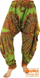 Batikhose Aladinhose, Yogahose, Pluderhose Pumphose - grün