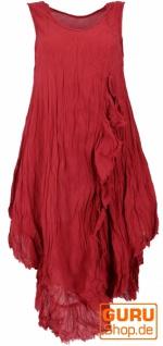 Boho Sommerkleid, luftiges Krinkelkleid, Maxikleid, Strandkleid - bordeauxrot