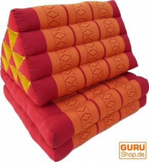 Thaikissen, Dreieckskissen, Kapok, Tagesbett mit 2 Auflagen - rot/orange