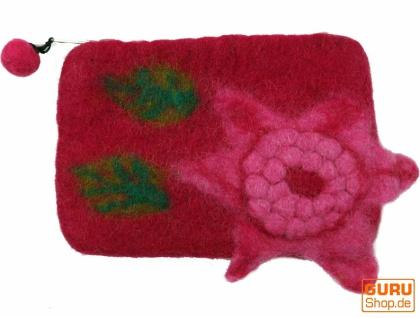 Portemonnaie aus Filz, Filzportemonnaie flower - pink - Vorschau