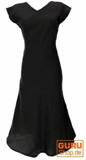 Langes Sommerkleid, Boho chic Leinenkleid - schwarz - Vorschau 1