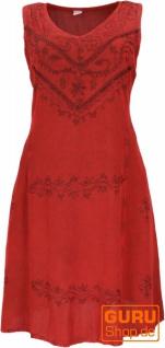 Besticktes Boho Sommerkleid, Midikleid, indisches Hippie Kleid in 7/8 Länge, rot - Design 3