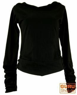 Goa Psytrance Shirt, Kapuzen Hoddy, Elfen Hoody, Langarmshirt - schwarz