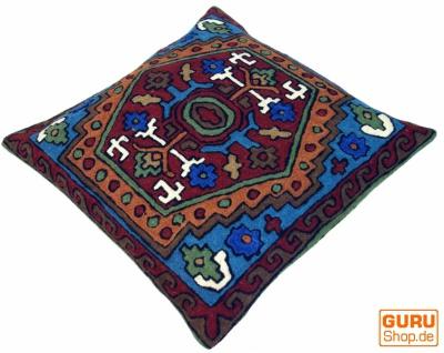Kelim Kissenhülle `Kaschmir`, bestickter Kissenbezug, Dekokissen aus Wolle - Muster 7