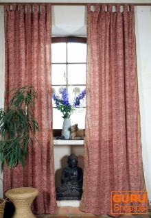 Seidige Boho Vorhänge, 1 Paar Bohemia Gardine aus Sareestoff, Unikat - rosa