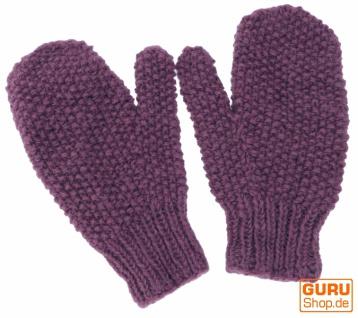 Handgestrickte Fausthandschuhe, Wollhandschuhe, Handschuhe, Fauster - flieder