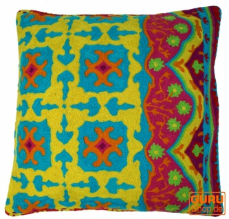 Kelim Kissenhülle, Boho Kissenbezug `Kaschmir` aus Wolle - Muster 1