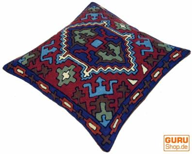 Kelim Kissenhülle `Kaschmir`, bestickter Kissenbezug, Dekokissen aus Wolle - Muster 19