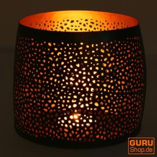 Filigranes orientalisches Metall Windlicht, Teelicht Leuchte mit fein gefrästem Design - 12 cm