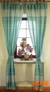 Boho Vorhänge, Gardine (1 Paar ) mit Schlaufen, ethno Style Vorhang, - mintgrün