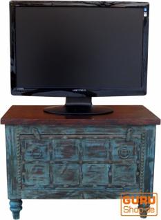 Kleine Plasma TV Box im Kolonialstil Fernsehtisch - blau - Vorschau 3
