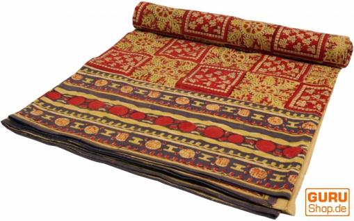 Blockdruck Tagesdecke, Bett & Sofaüberwurf, handgearbeiteter Wandbehang, Wandtuch - rot/gelb