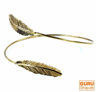 Indischer Oberarm Armreifen Messing, Boho Armschmuck, Feder - gold