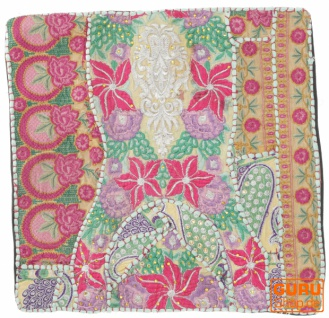 Patchwork Kissenhülle, Dekokissen Bezug aus Rajasthan, Einzelstück - Muster 24
