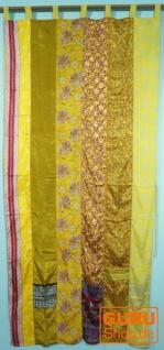 Vorhang (1 Stk.) Gardine aus Patchwork Sareestoff, Unikat - gelb bunt