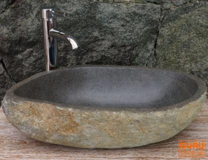 Massives Flußstein Aufsatz-Waschbecken, Waschschale, Naturstein Handwaschbecken ca. 45 cm - Modell 10