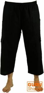 3/4 Yogahose, Shorts, Cargo Hose, Goa Hose - schwarz