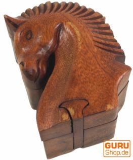 Puzzlebox, Schmuckschatulle, Magic Box, Schachtel mit Geheim Verschluß - Pferd