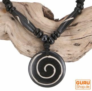 Ethno Amulet, Tibet Halskette, Tibetschmuck - Spirale schwarz/weiß