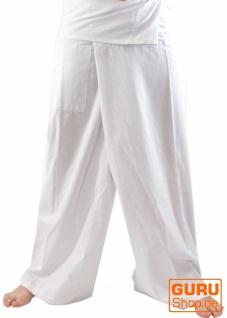 Thai Fischerhose aus Baumwolle, Wickelhose, Yogahose - L/XL weiß