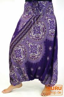 Afghani Hose, Overall, Jumpsuit, Haremshose, Pluderhose, Pumphose, Aladinhose - violett/bunt