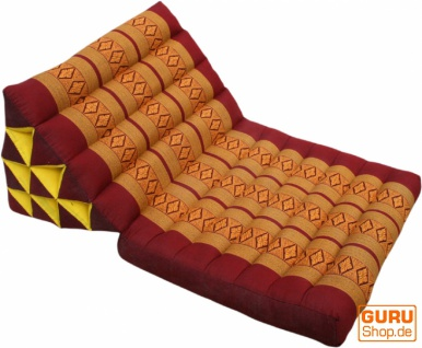 Thaikissen, Dreieckskissen, Kapok, Tagesbett mit 1 Auflage - dunkelrot/gold