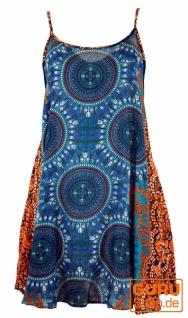 Boho Dashiki Minikleid, Trägerkleid, Strandkleid - petrol/orange
