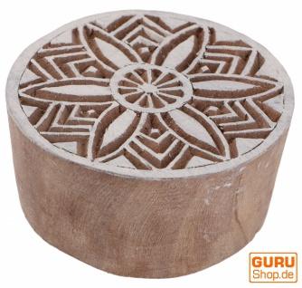 Indischer Textilstempel, Stoffdruckstempel, Blaudruck Stempel, Holz Model - Ø 6 cm Mandala 1