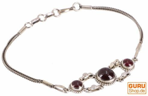 Boho Silber Armkettchen, indisches Silberarmband Blüte - Granat