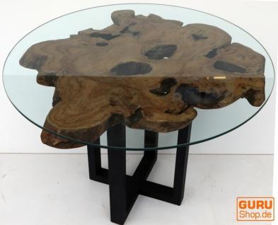 Tisch, Eßtisch, Kaffeetisch, Beistelltisch, Couchtisch mit Baumscheibe und runder Glasplatte - Modell 1