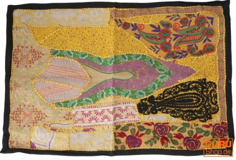 Indischer Wandteppich Patchwork Wandbehang, Einzelstück 90*65 cm - Muster 20
