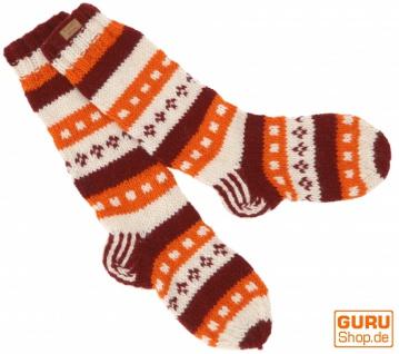 Handgestrickte Schafwollsocken, Nepal Socken - rostrot