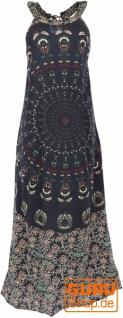 Langes Boho Sommerkleid, indisches Maxikleid - schwarz