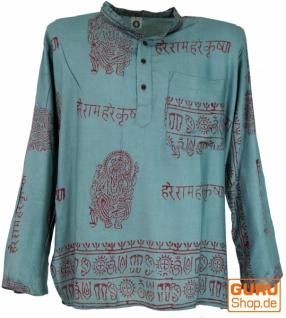 Hare Krishna Mantra Shirt, Goa Hippie Hemd - graublau