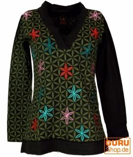 Besticktes Langarmshirt mit V-Neck Blume des Lebens Hippie chic - schwarz/olive