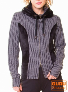 Jacke mit Kapuze aus Bio-Baumwolle / Chapati Design - black/grey