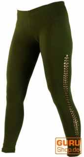 Psytrance Damen Leggings, Stretch Hose für Frauen, Yogahose - olive